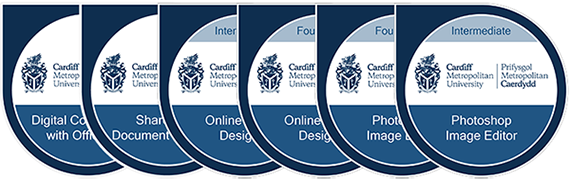 Cardiff Met digital badges collage