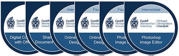 Cardiff Met digital badges collage